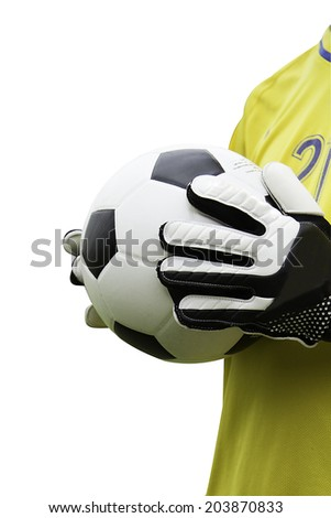 Goalkeeper and soccer ball with paths - stock photo