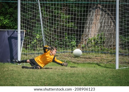 goalkeeper catch the ball on gate - stock photo