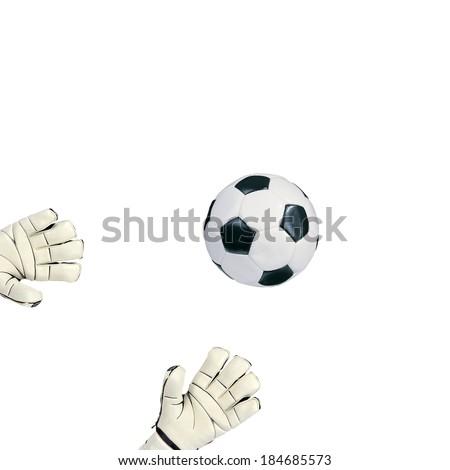 Goalkeeper catches the ball on white background - stock photo