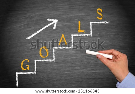 Goals - Business concept with female hand and stairs with arrow - stock photo