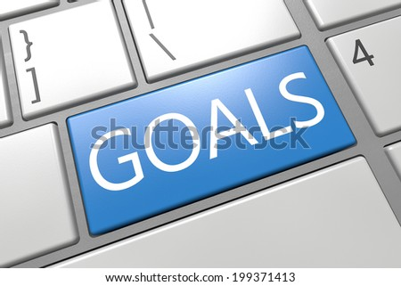 Goals - keyboard 3d render illustration with word on blue key - stock photo