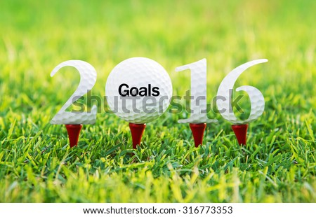 Goals new year 2016, Golf sport conceptual image. - stock photo