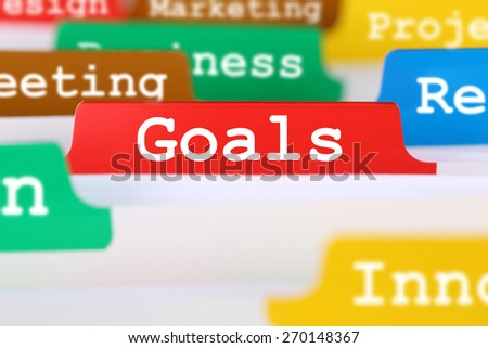 Goals or targets success business concept office text on register documents - stock photo
