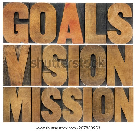 goals, vision and mission - isolated word abstract in letterpress wood type printing blocks - stock photo