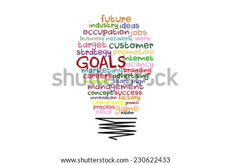 goals word concept on light bulb shape with colorful words - stock photo