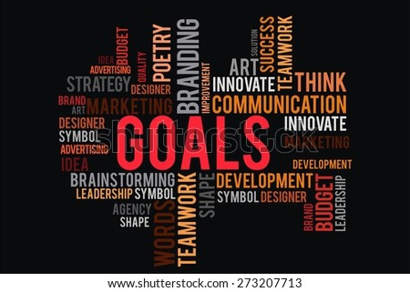 GOALS word on cloud concept with black background - stock photo
