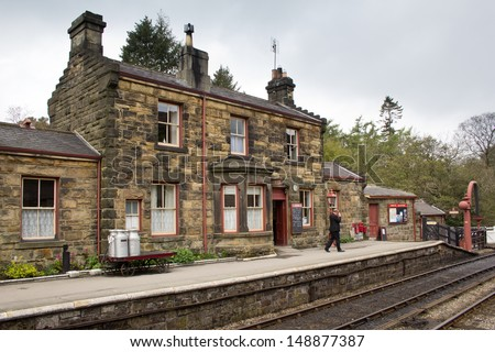 GOATHLAND, ENGLAND - MAY 20: Goathland railway station, used as a location in the Harry Potter movies on May 20, 2013 in Goathland, England - stock photo