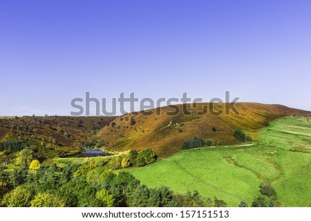 Goathland, Yorkshire, UK. Autumn (fall) settles over Hazelhead Moor and its small reservoir in the heart of the North York Moors near Goathland, Yorkshire, UK on a fine sunny morning.  - stock photo