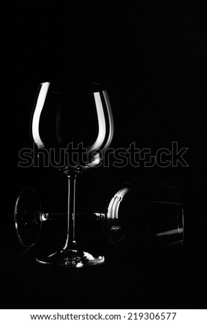 Goblet wine (Black White) - stock photo