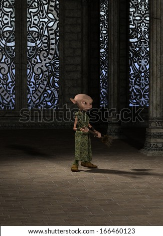 Goblin servant girl with a broom sweeping the great hall, 3d digitally rendered illustration - stock photo