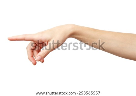 God finger. Finger point isolated white background. Alpha. One finger. Forefinger. 1  - stock photo
