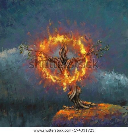 God in the burning bush digital painting/God in the burning bush - stock photo