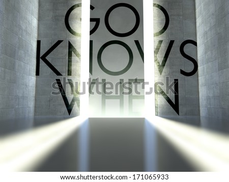 God knows when slogan on wall in modern interior, concept of faith - stock photo