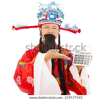 God of wealth show a compute machine over white background - stock photo