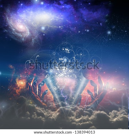 God peels back the ether and particle physics - stock photo