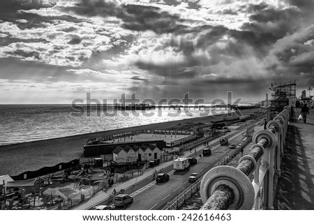 God Rays over Brighton Pier - stock photo