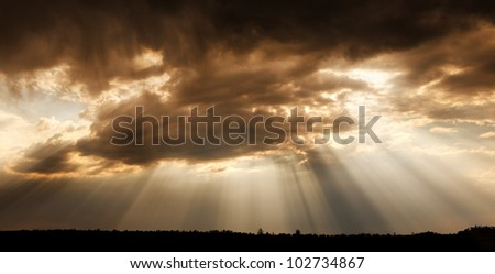 God's eye. Landscape cloudy sky, with rays of the sun. - stock photo