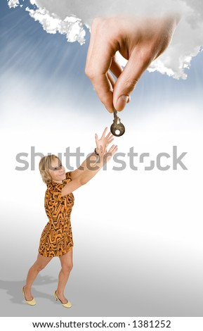God's helping hand give a solution - stock photo
