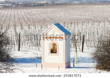 God's torture near Hnanice with winter vineyard, Southern Moravia, Czech Republic - stock photo