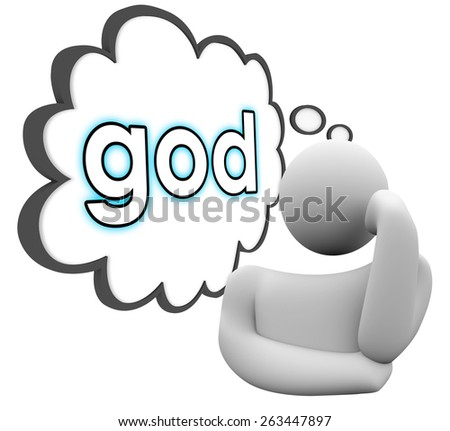 God word in thought cloud over a person thinking about faith, religion, prayer and belief - stock photo