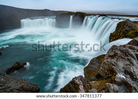 Godafoss, beautiful Icelandic waterfall and natural landmark. It is located on the north of the Iceland near Myvatn lake and The Ring Road - stock photo