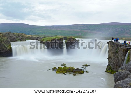 Godafoss, 'Fall of the Gods', one of the most famous and beautiful falls in Iceland. - stock photo