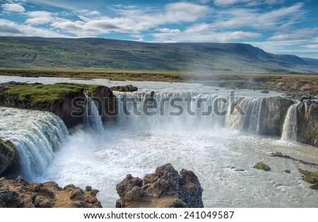 Godafoss waterfall Iceland - stock photo