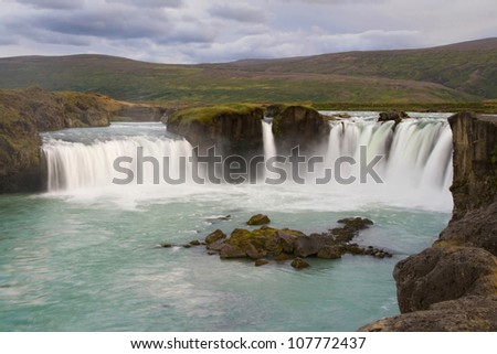 Godafoss Waterfall, near Akureyri, Iceland. - stock photo