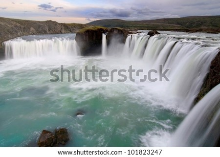 Godafoss (Waterfall of the Gods) in the Myvatn district, Iceland. - stock photo