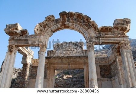Goddess of Fortune and Medusa Visible at the Temple of Hadrian, Ephesus, Turkey - stock photo