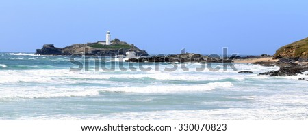 Godrevy Island and Lighthouse, Cornwall, England, UK. - stock photo