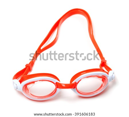 Goggles for swimming isolated on white background - stock photo