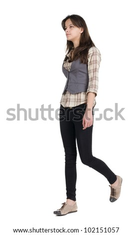 going forward woman . girl in motion. during a walk. Isolated over white background. - stock photo