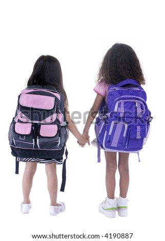 Going to school is your future. Education, learning, teaching. Two young girls head off to school. - stock photo