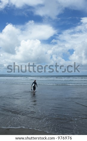 going to surf - stock photo