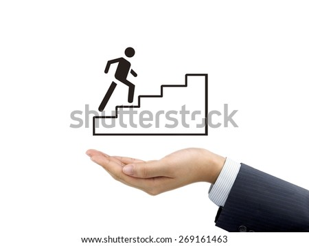 going up stairs holding by businessman's hand over white background - stock photo