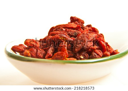 Goji berries on the table closeup - stock photo