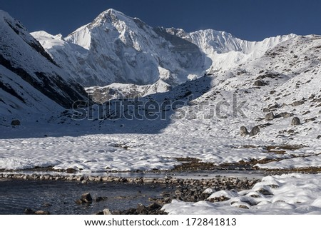 GOKYO, NEPAL - CIRCA OCTOBER 2013: view of Cho Oyu from village of Gokyo circa October 2013 in Gokyo. - stock photo