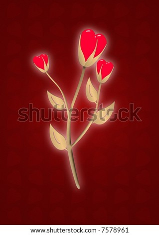 Gold abstract flower with hearts on a red stylish heart background - stock photo