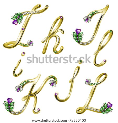 Gold alphabet with diamonds and gems letters I,J,K,L (see eps version in my portfolio) - stock photo