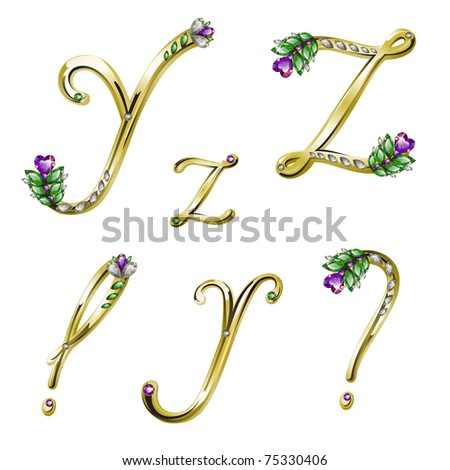 Gold alphabet with diamonds and gems letters Y,Z and punctuation marks (see eps version in my portfolio) - stock photo