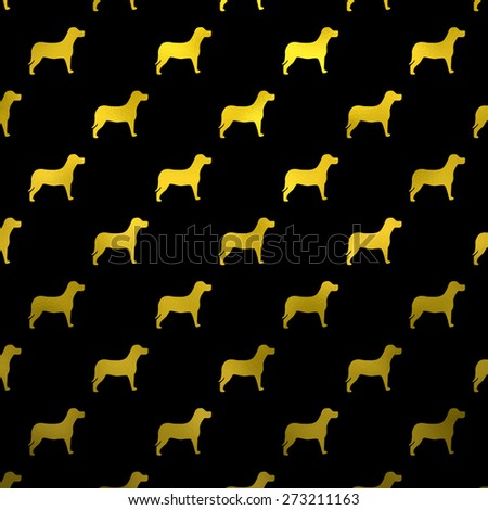 Gold and Black Dogs Faux Foil Metallic Dog Polka Dots Background Pattern Texture - stock photo