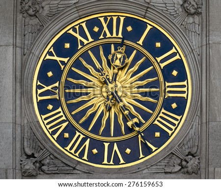 gold and blue ancient clock - stock photo