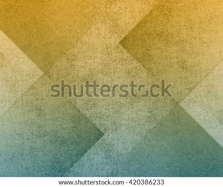 gold and blue background with old parchment grunge texture in modern art abstract background block layout design, yellow and blue paper with block pattern - stock photo
