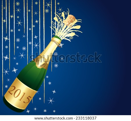Gold and blue greeting card. Happy New Year ! Festive background.  - stock photo