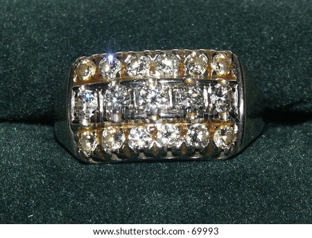 Gold and Diamond Ring - stock photo