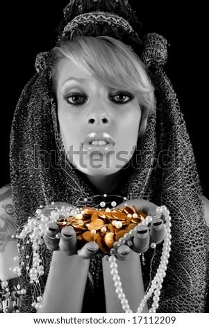 gold and jewelery - stock photo