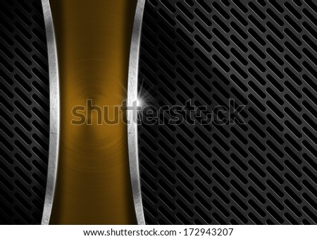 Gold and Metal Abstract Background / Abstract background with dark metal grid and gold metal plate - stock photo