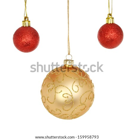 Gold and red glitter Christmas baubles isolated against white - stock photo