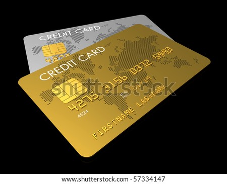 Gold and silver credit card isolated on black with clipping path - stock photo